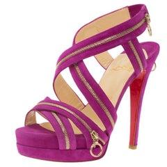 Christian Louboutin Pink Suede Rodita Zipper Detail Platform Sandals Size 36.5