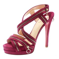 Christian Louboutin Pink Suede Rodita Zipper Detail Platform Sandals Size 39