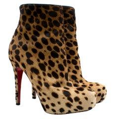 Christian Louboutin Pony Hair Leopard Print Ankle Boot HeelsSIZE 38.5