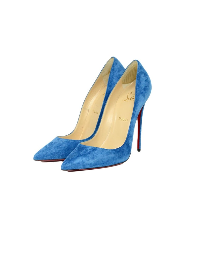 new arrival 18250 f56ff Christian Louboutin Positano Blue Suede So Kate 120 Pointed Toe Pumps sz  39.5