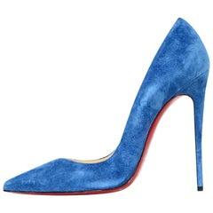 Christian Louboutin Positano Blue Suede So Kate 120 Pointed Toe Pumps sz 39.5