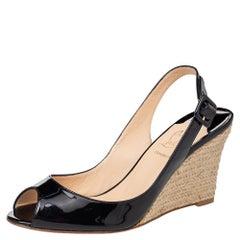 Christian Louboutin Puglia Espadrilles Wedge Peep Toe Slingback Sandals Size 39