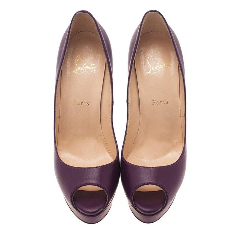 Christian Louboutin Purple Leather Lady Peep Platform Pumps Size 40 In Good Condition For Sale In Dubai, AE