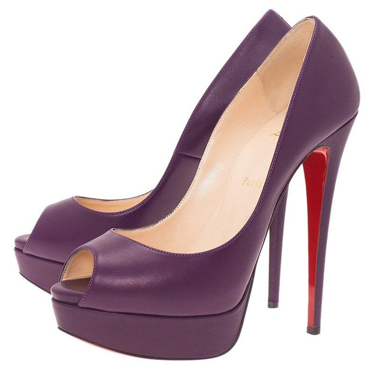Women's Christian Louboutin Purple Leather Lady Peep Platform Pumps Size 40 For Sale