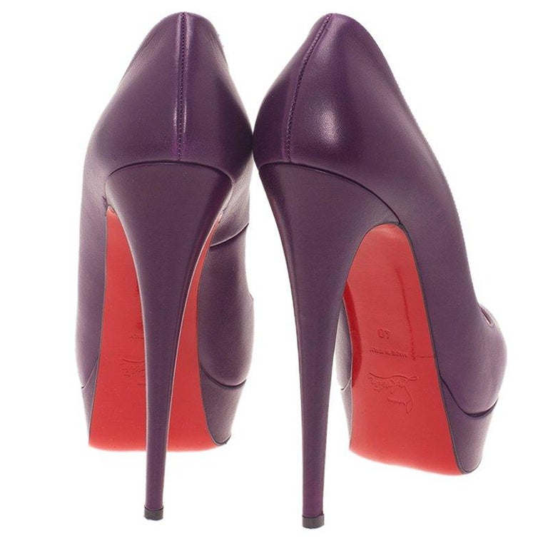 Christian Louboutin Purple Leather Lady Peep Platform Pumps Size 40 For Sale 1