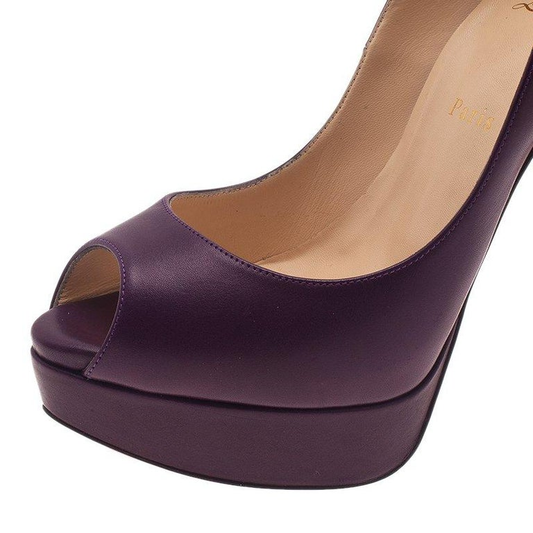 Christian Louboutin Purple Leather Lady Peep Platform Pumps Size 40 For Sale 3