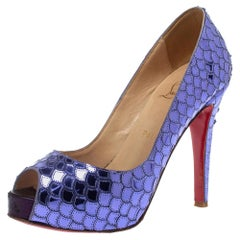 Christian Louboutin Purple Mirrored Sequin Patent Leather Very Prive Pumps Size
