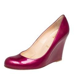 Christian Louboutin Purple Patent Leather Ron Ron Zeppa Wedge Pumps Size 38.5