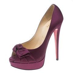 Christian Louboutin Purple Satin Madame Butterfly Platform Pumps Size 39