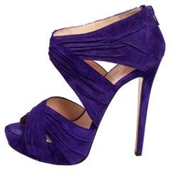 Christian Louboutin Purple Suede Bandra Platform Sandals Size 38.5
