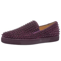 Christian Louboutin Purple Suede Roller Boat Spikes Slip On Sneakers Size 45.5