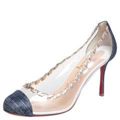 Christian Louboutin  PVC And Glitter Fabric Agritti Cap Toe Pump Size 39.5