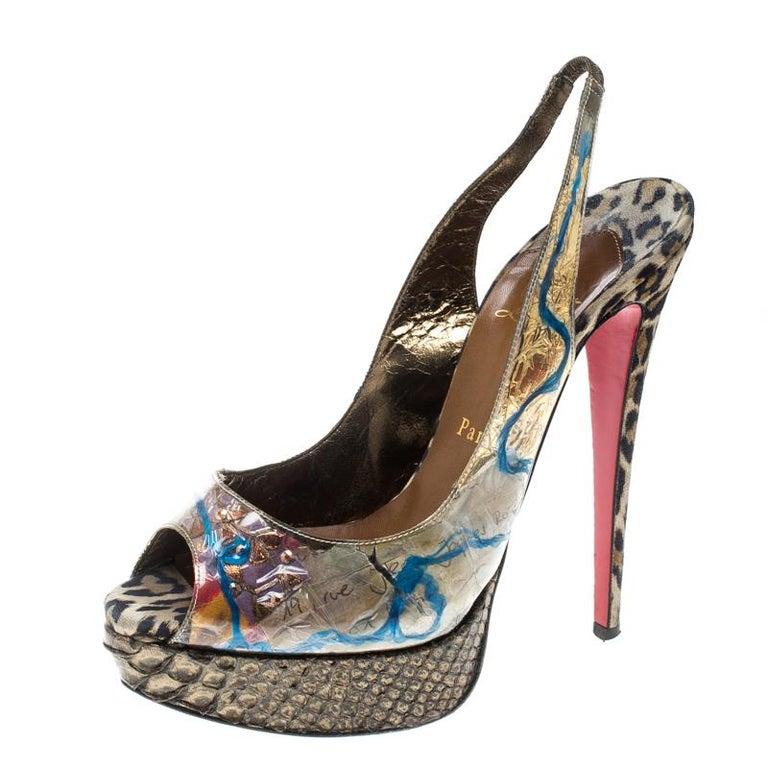 Women's Christian Louboutin PVC Eco Trash Peep Toe Platform Slingback Sandals Size 38 For Sale