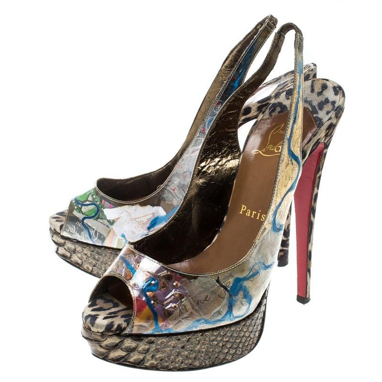 Christian Louboutin PVC Eco Trash Peep Toe Platform Slingback Sandals Size 38 For Sale 1