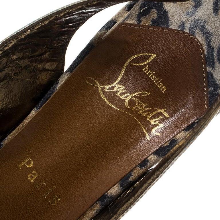 Christian Louboutin PVC Eco Trash Peep Toe Platform Slingback Sandals Size 38 For Sale 2