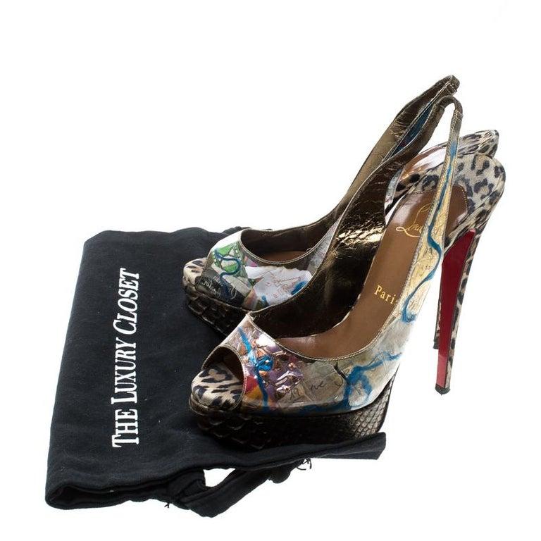 Christian Louboutin PVC Eco Trash Peep Toe Platform Slingback Sandals Size 38 For Sale 3