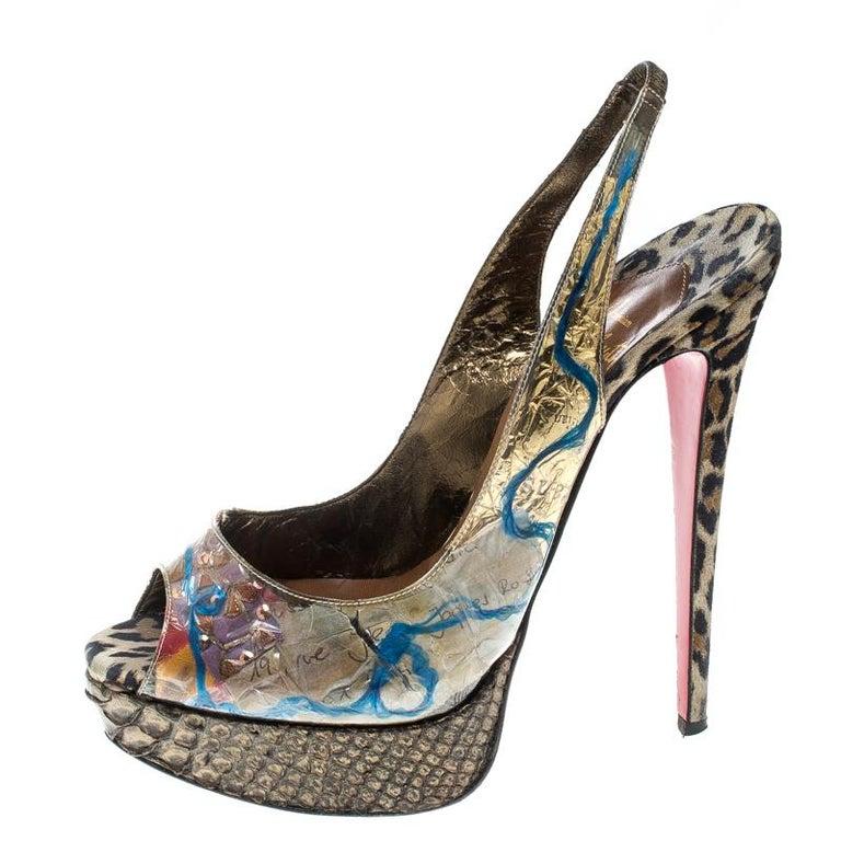 promo code 8e22b 92dd3 Christian Louboutin PVC Eco Trash Peep Toe Platform Slingback Sandals Size  38