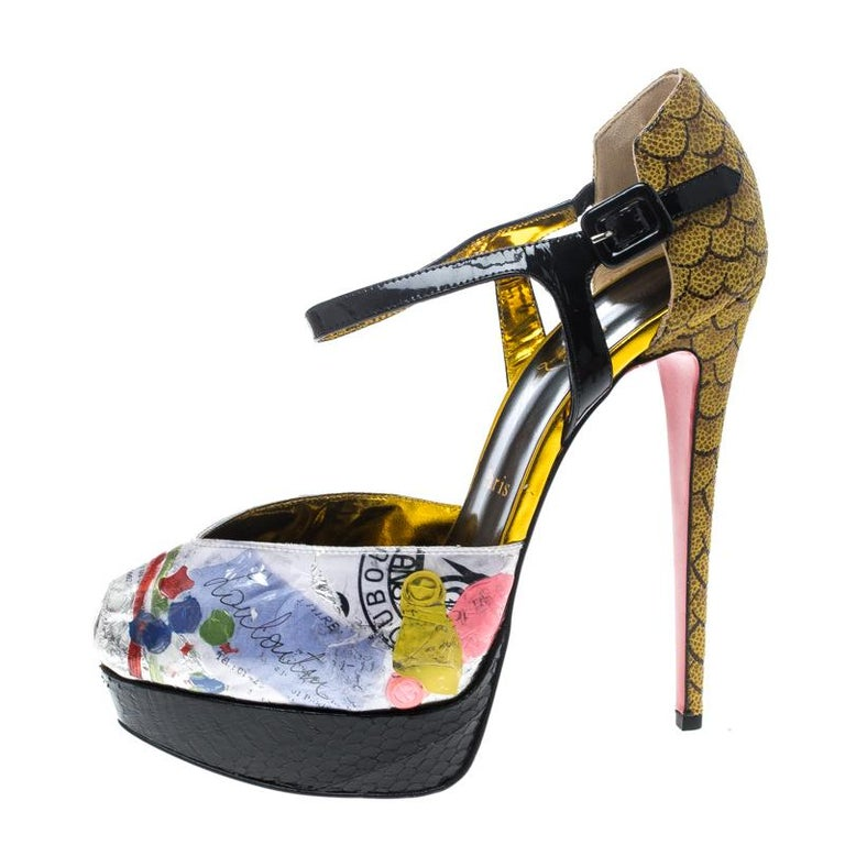 Christian Louboutin PVC No. 299 Trash Platform Ankle Straps Pumps Size 39.5 In New Condition For Sale In Dubai, AE