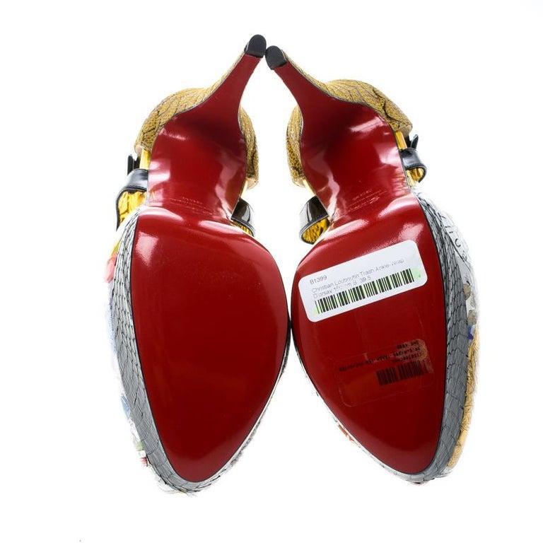 Christian Louboutin PVC No. 299 Trash Platform Ankle Straps Pumps Size 39.5 For Sale 1