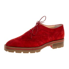 Christian Louboutin Red Brogue Suede Leather Charletta Oxfords Size 38.5