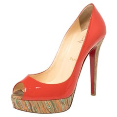 Christian Louboutin Red Patent Leather And Cork Lady Peep Toe Pumps Size 38.5