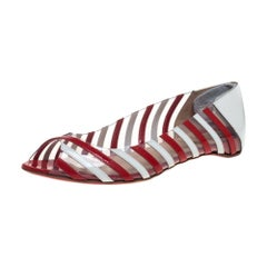 Christian Louboutin Red Patent Leather and PVC A6 Ballet Flats Size 38.5