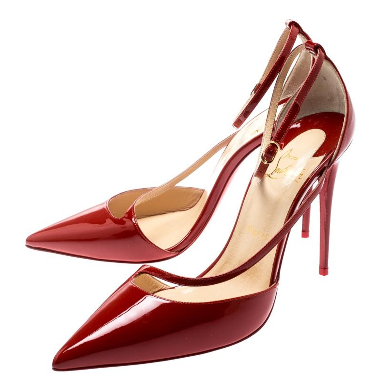 4f32ef580cb Christian Louboutin Red Patent Leather Ankle Strap Toe Pumps Size 39