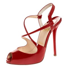 Christian Louboutin Red Patent Leather Cross Street Strappy Sandals Size 38.5