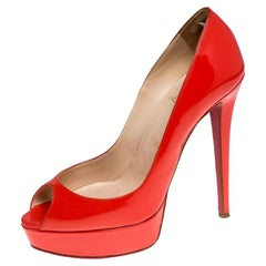 Christian Louboutin Red Patent Leather Flamenco Platform Pumps Size 38