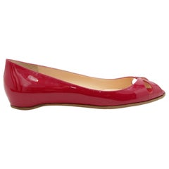 Christian Louboutin Red Patent Leather Low Wedge Flats