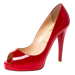 Christian Louboutin Red Patent Leather Peep Toe Platform Pumps Size 37.5
