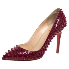 Christian Louboutin Red Patent Leather Pigalle Spikes Pumps Size 39.5