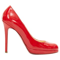CHRISTIAN LOUBOUTIN red patent leather platform almond toe slim heel pump EU36.5
