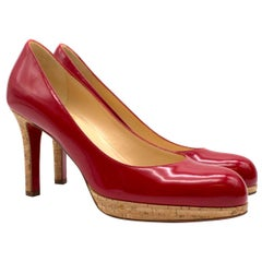 Christian Louboutin Red Patent Leather platform pumps size 37