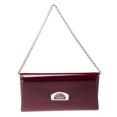 Christian Louboutin Red Patent Leather Vero Dodat Clutch
