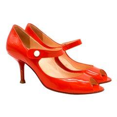 Christian Louboutin Red Patent Mary Jane Peep Toe Pumps  37