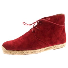 Christian Louboutin Red Suede Cadaques Espadrille Desert Boots Size 41