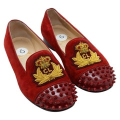 Christian Louboutin Red Suede Studded Flats