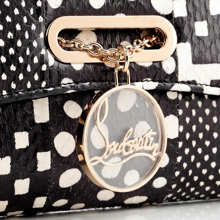 Black Christian Louboutin Riviera Patchwork Watersnake Clutch Bag For Sale