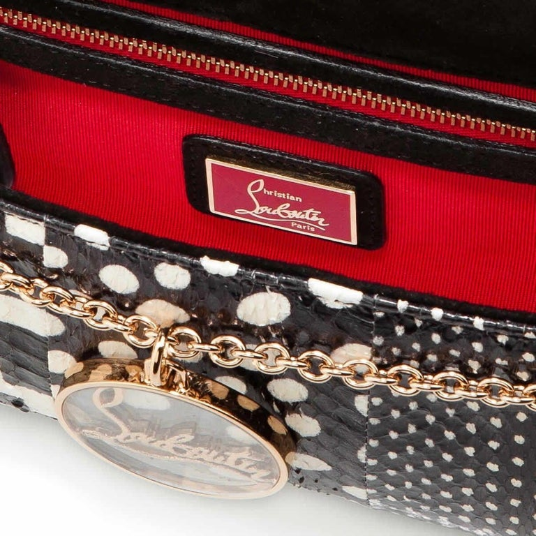 Christian Louboutin Riviera Patchwork Watersnake Clutch Bag In Excellent Condition For Sale In London, GB
