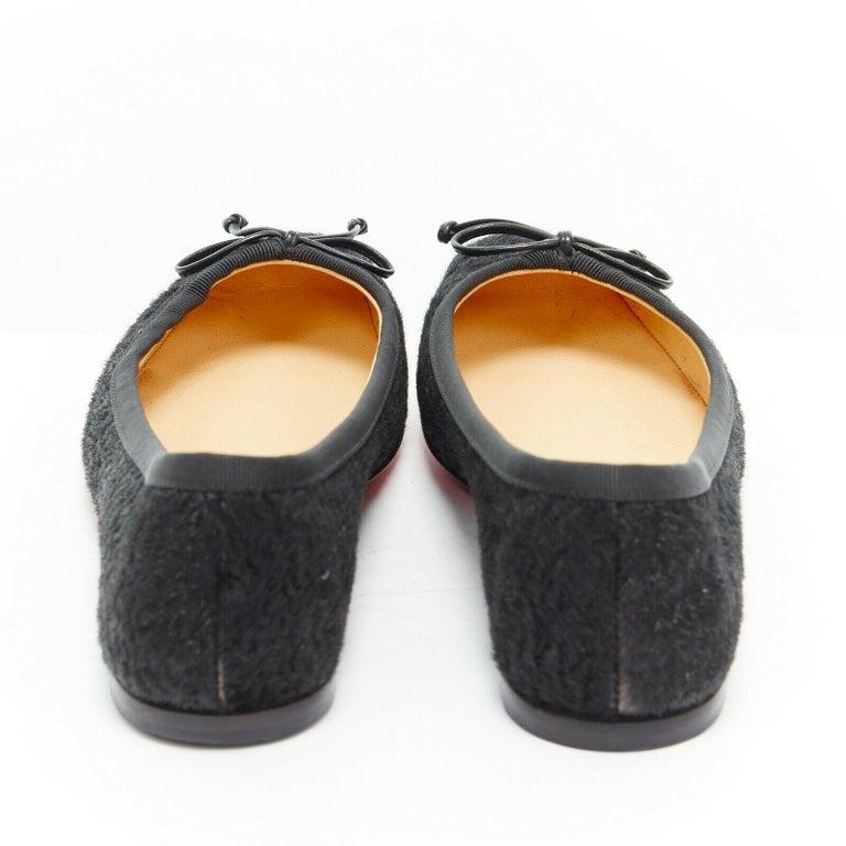 Women's CHRISTIAN LOUBOUTIN Rosella black sheared fur square toe ballet flats EU35.5 For Sale