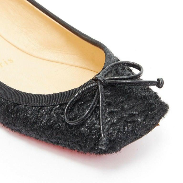 CHRISTIAN LOUBOUTIN Rosella black sheared fur square toe ballet flats EU35.5 For Sale 2