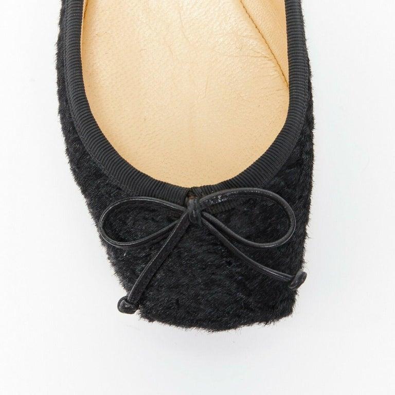 CHRISTIAN LOUBOUTIN Rosella black sheared fur square toe ballet flats EU35.5 For Sale 3