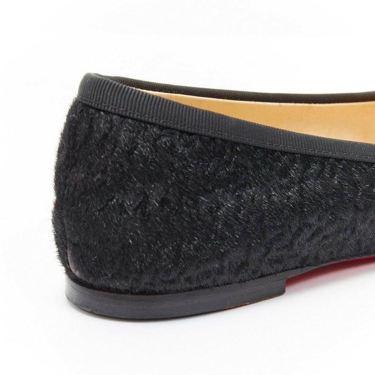 CHRISTIAN LOUBOUTIN Rosella black sheared fur square toe ballet flats EU35.5 For Sale 4