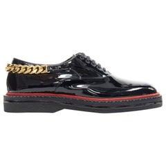 CHRISTIAN LOUBOUTIN Roy Flat black patent gold chunky chain XL sole brogue EU41