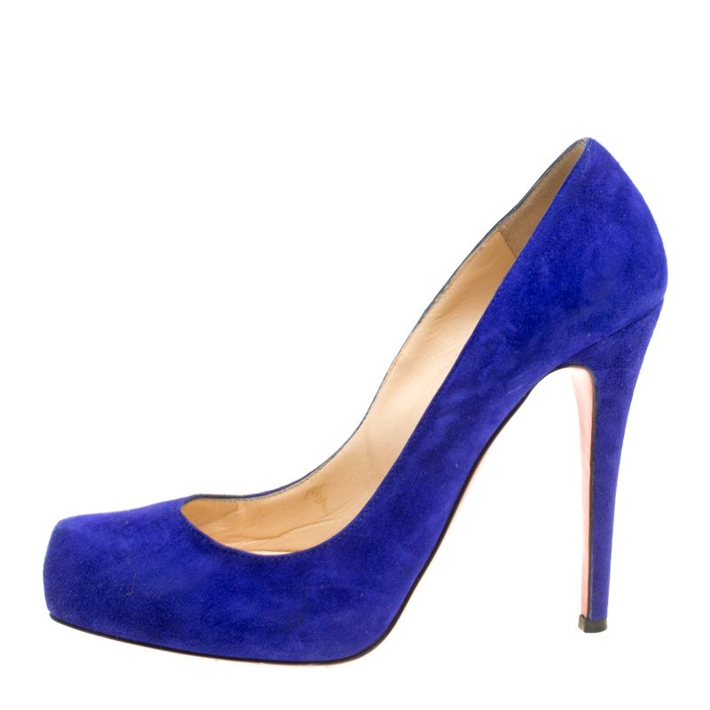 02de838c590 Christian Louboutin Royal Blue Suede Platform Pumps Size 39 For Sale at  1stdibs