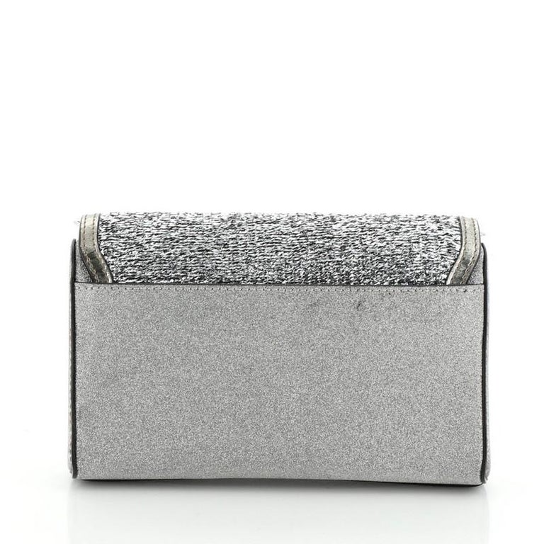 Christian Louboutin Rubylou Clutch Glitter Leather In Good Condition For Sale In New York, NY