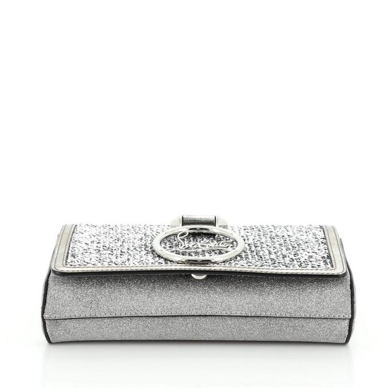 Women's or Men's Christian Louboutin Rubylou Clutch Glitter Leather For Sale