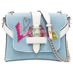 CHRISTIAN LOUBOUTIN Rubylou Love sequins light blue denim chain shoulder bag