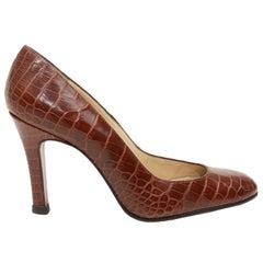 Christian Louboutin Rust Red Round-Toe Alligator Heels